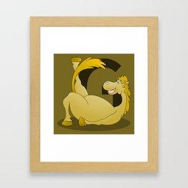 Pony Monogram Letter G Framed Art Print