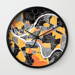 Pittsburgh Map Wall Clock