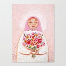 Matryoshka with flowers Canvas Print