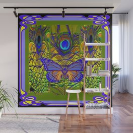 BLUE-PURPLE BUTTERFLY PEACOCK FEATHER PATTERNS Wall Mural