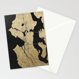 Seattle Black and Gold Street Map Stationery Cards
