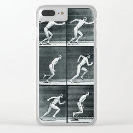 Time Lapse Motion Study Man Running Monochrome Clear iPhone Case
