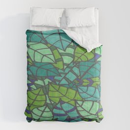 Tropical Leaves in Green  Comforters