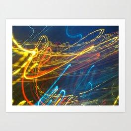 Abstract City Night - Light Painting Art Print