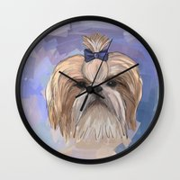 shih tzu Wall Clocks featuring Shih tzu  by Michelle Behar
