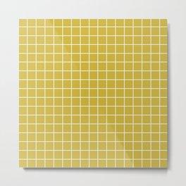Old gold - beije color - White Lines Grid Pattern Metal Print