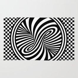 Black & White Twist & Check Design Rug