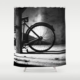 Old bicycle in a dusty attic Shower Curtain