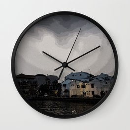 Evening at the Waterfront Wall Clock
