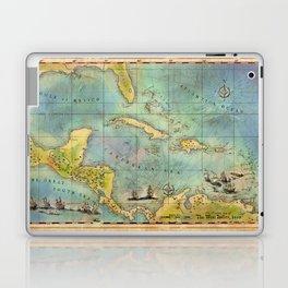 Caribbean Pirate + Treasure Map 1660 (Colored) Laptop & iPad Skin