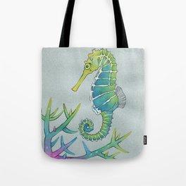 Neon Seahorse Tote Bag