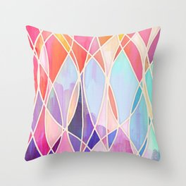 Purple & Peach Love - abstract painting in rainbow pastels Throw Pillow