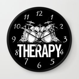 Drummers Therapy Drum Set Cartoon Illustration Wall Clock