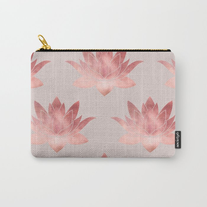 Pink Lotus Flower | Watercolor Texture Carry-All Pouch