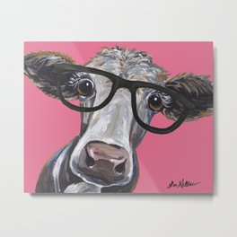 Cow Art, Colorful Cow With Glasses Art. Metal Print