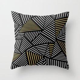 A Linear Black Gold Throw Pillow