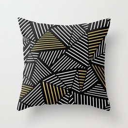 A Linear Black Gold Throw Pillow
