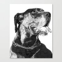 great dane Canvas Prints featuring Great Dane by onlypencil