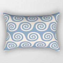 Mid Century Modern Wave Blue & Beige Rectangular Pillow
