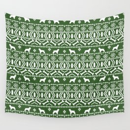 Cocker Spaniel fair isle christmas pattern dog breed holiday gifts green and white Wall Tapestry