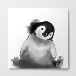 Baby Penguin White Metal Print
