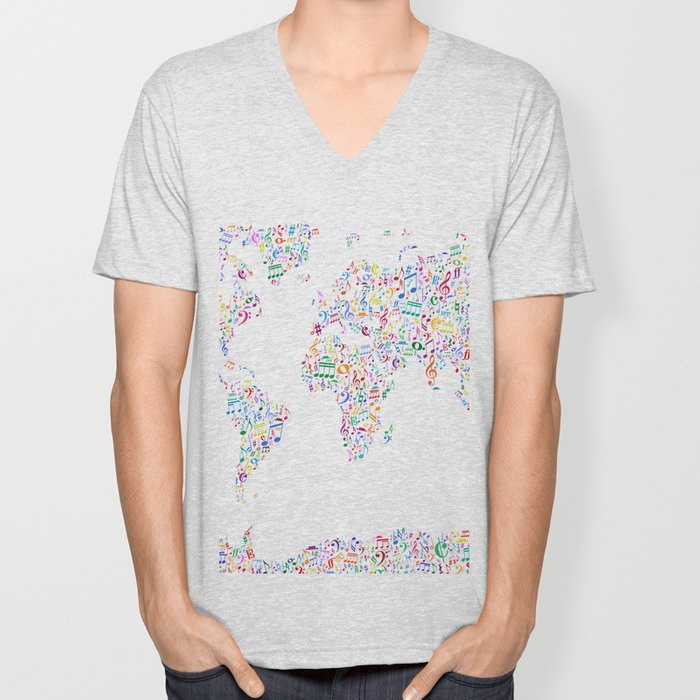 Music Notes Map of the World Unisex V-Neck