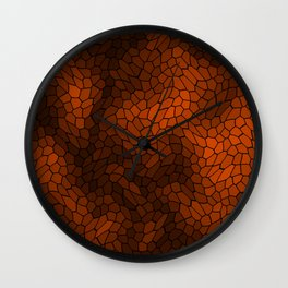 Stained glass texture of snake brown leather with dark heat spots. Wall Clock