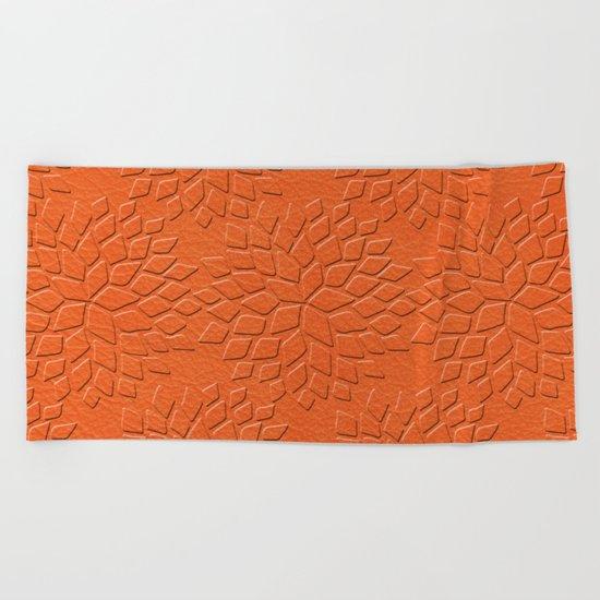 Leather Look Petal Pattern - Flame Color Beach Towel