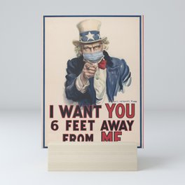 Retro Uncle Sam I want you Social Distancing Tee Virus protection Mini Art Print