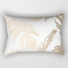 Simply Tropical Palm Leaves in White Gold Sands Rectangular Pillow