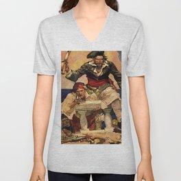 """""""Blackbeard Boarding"""" Pirate Art by Frank E Schoonover Unisex V-Neck"""