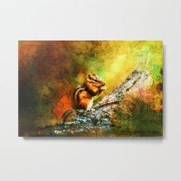 Forest Jewel Chipmunk Metal Print