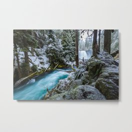 Blue River Waterfall Flows Through Snowy Forest Metal Print