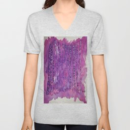 Deep Purple Abstract Aspen Tree Watercolor Painting Unisex V-Neck
