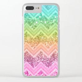 Rainbow Glitter Chevron #1 #shiny #decor #art #society6 Clear iPhone Case