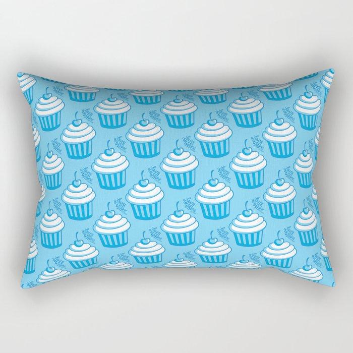 Cute Cupcake Blue Pattern Rectangular Pillow