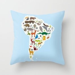 South America sloth anteater toucan lama bat fur seal armadillo boa manatee monkey dolphin Throw Pillow