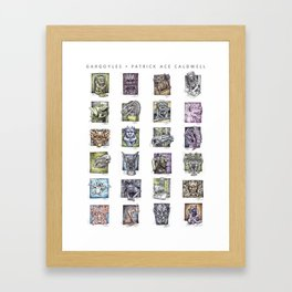 Gargoyle Compilation Print Framed Art Print