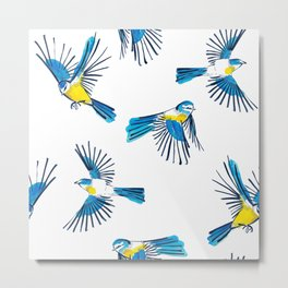Flying Blue Tit / Bird Pattern Metal Print