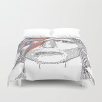 bowie Duvet Covers featuring Bowie by S. L. Fina