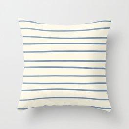 Dusk Sky Blue 27-23 Hand Drawn Horizontal Lines on Dover White 33-6 Throw Pillow