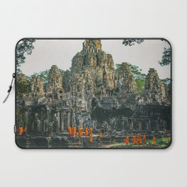 Unidentified Buddist monks from Thailand at one of the temple of Bayon Temple .Buddhism is currently Laptop Sleeve
