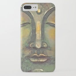Rusty Golden Buddha Face - Zen and Balance Watercolor Painting iPhone Case