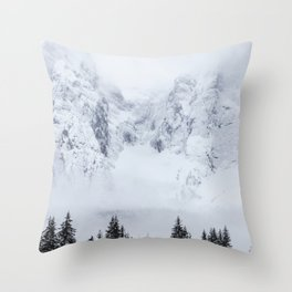 Snowy mountains and spruce forest Throw Pillow
