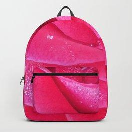 Dew on pink rose petals macro Backpack