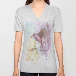 Hummingbird Watercolor Illustration Unisex V-Neck