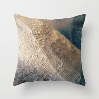 lace Throw Pillows featuring lace by messy bed studio