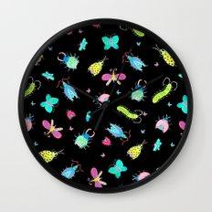 Neon Bugs Wall Clock