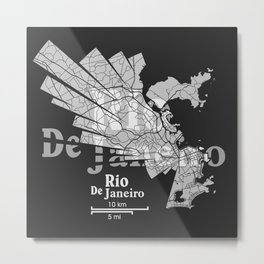 Rio De Janeiro Map Metal Print