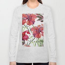 Tropical Background. watercolor tropical leaves and plants. Hand painted jungle greenery background Long Sleeve T-shirt